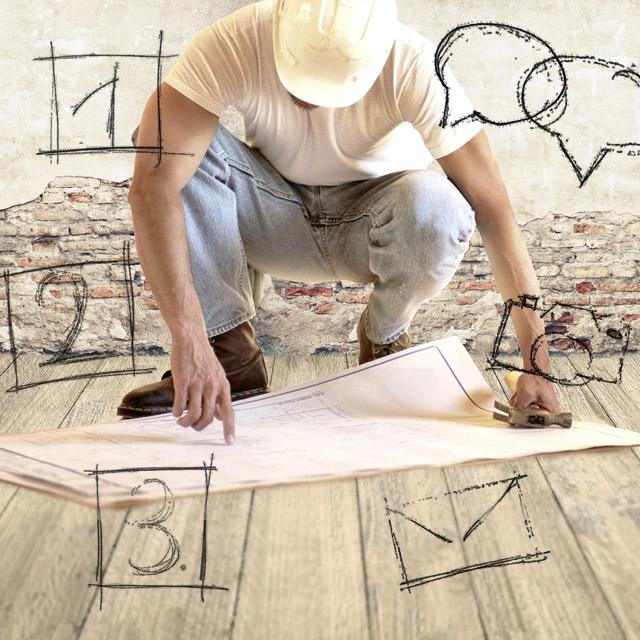 Bauarbeiter im Planungsprozess