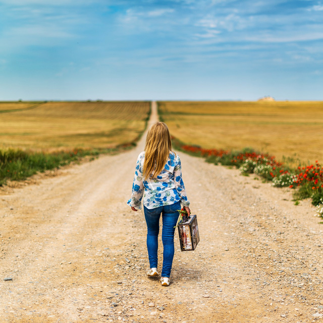 Frau mit Koffer geht dem Horizont entgegen (Journey)