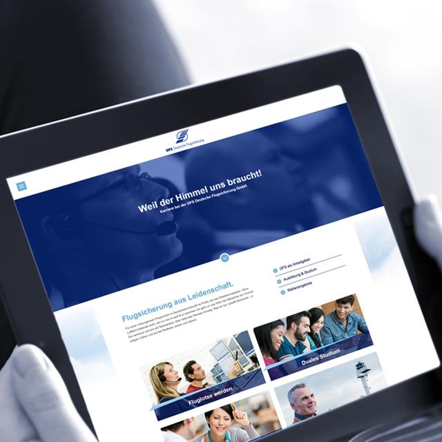 Tablet-Ansicht: DFS-Karriere-Website