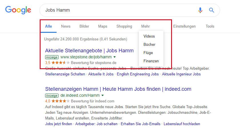 Google Produkte nach Schwerpunkten, z. B. News, Shopping, Videos, Bücher oder Google for Jobs