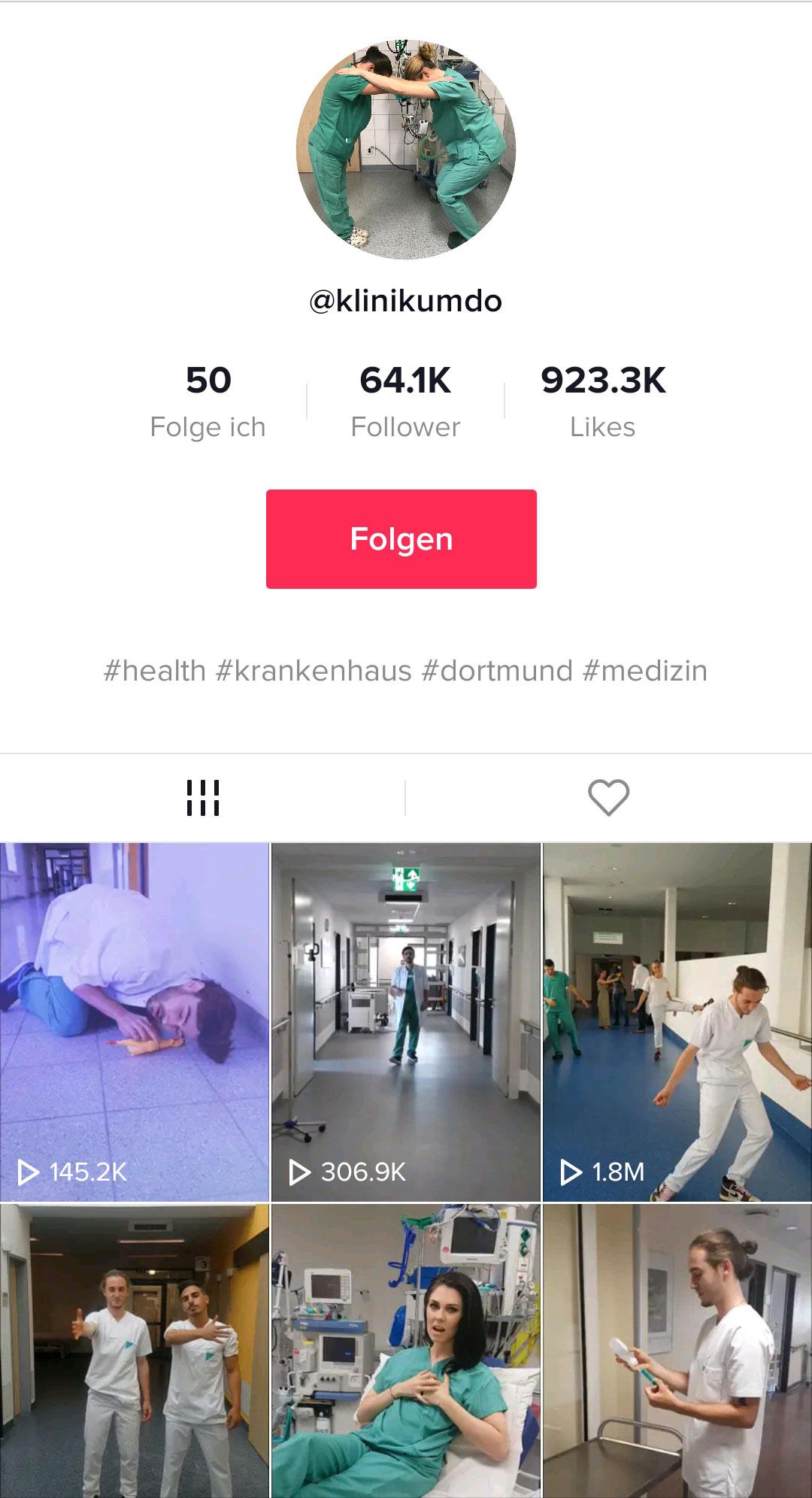 TikTok-Profil Klinikum Dortmund