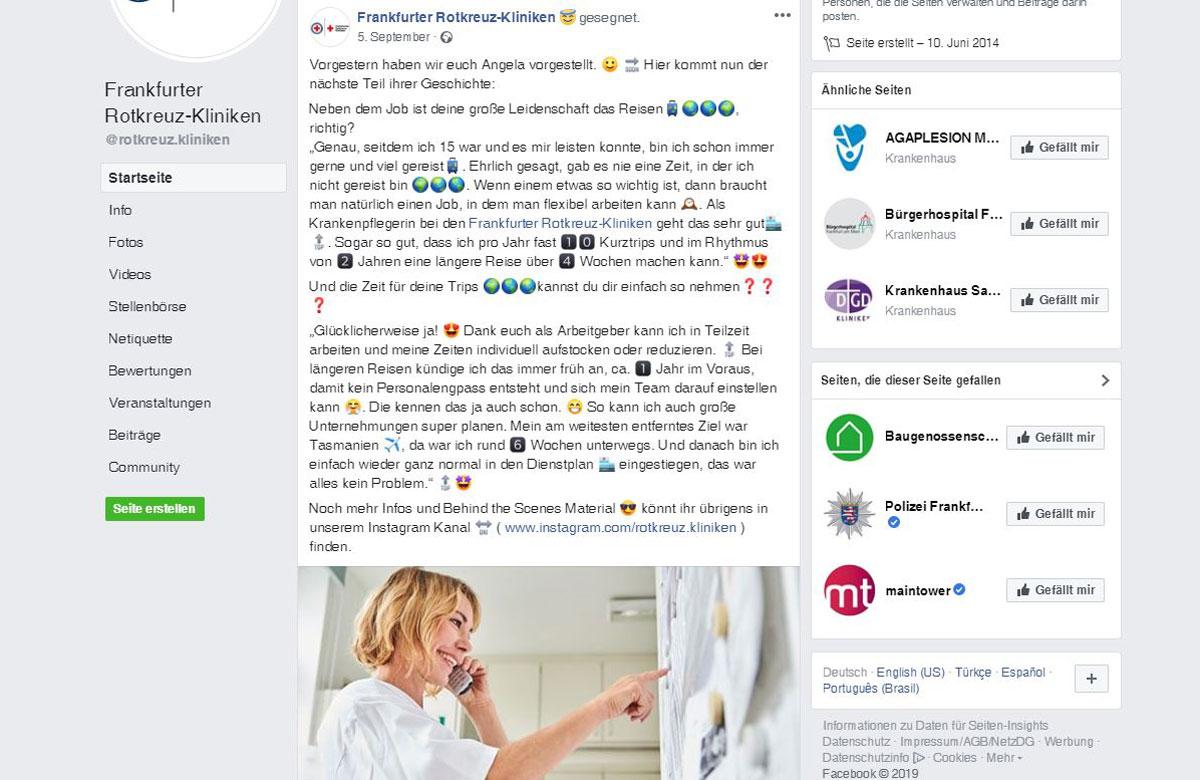 Mitarbeiterstory in der Facebook-Präsenz der Frankfurter Rotkreuz-Kliniken